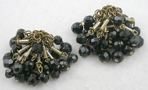 $25 or Less - French Jet Beads Pom Pom Earrings