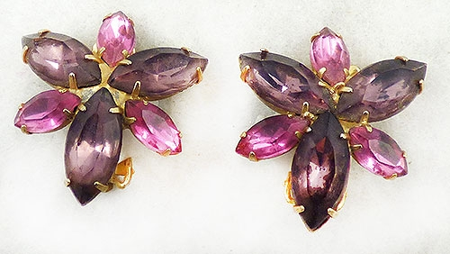 Newly Added Amethyst and Pink Navette Rhinestone Earrings