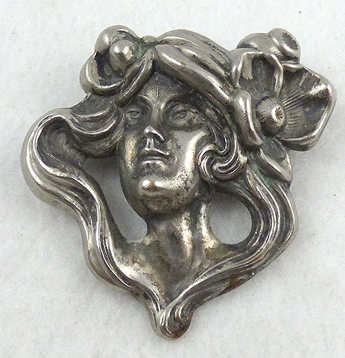 Brooches - Art Nouveau Style Silver Lady Brooch