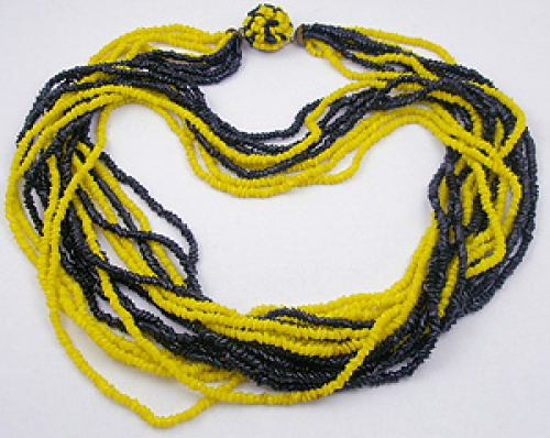Necklaces - Yellow & Black Glass Bead Torsade Necklace