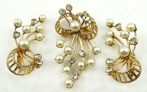 Newly Added Emmons Rhinestone and Pearl Brooch Set
