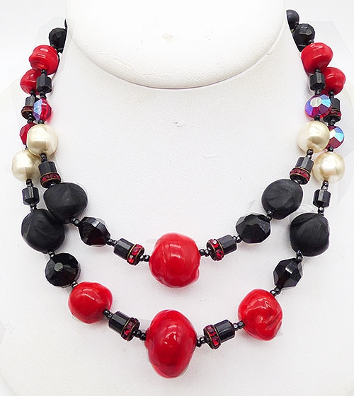 Newly Added Vintage Black and Red Glass Bead Necklace