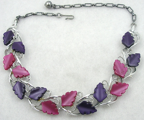Leaves & Plants - Purple & Fuchsia Plastic Leaves Necklace