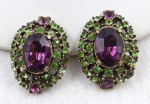 Earrings - Light Green and Amethyst Rhinestone Earrings