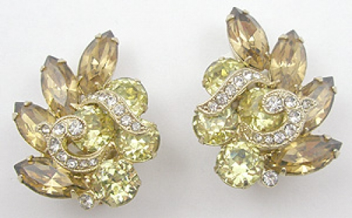 Eisenberg - Eisenberg Light Topaz Rhinestone Earrings