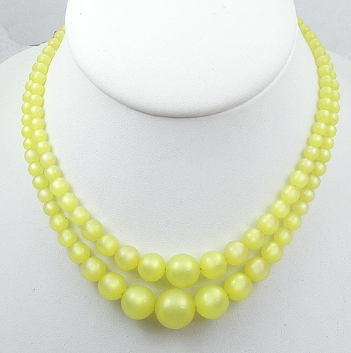Summer Hot Colors Jewelry - Coro Yellow Moonglow Double Strand Necklace