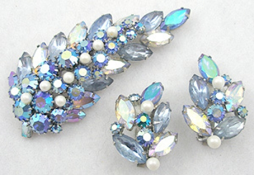 Leaves & Plants - Alice Caviness Blue Rhinestone Leaf Brooch Set