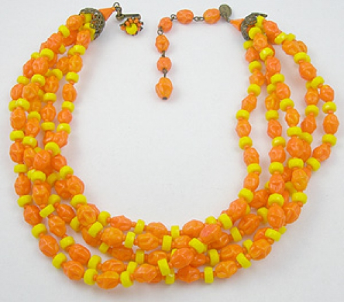 Necklaces - Miriam Haskell 5-Strand Glass Beads Necklace