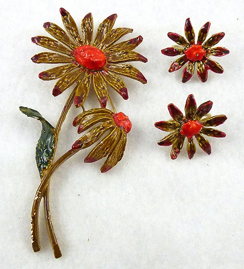 Florals - Signed Art Enameled Flower Brooch Set