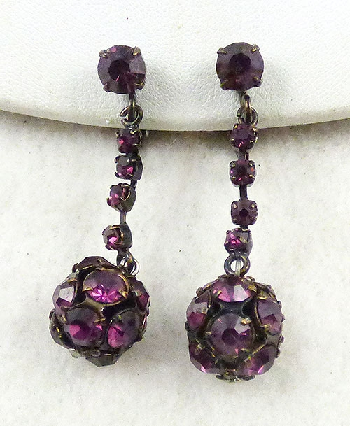 Earrings - Amethyst Rhinestone Bead Earrings