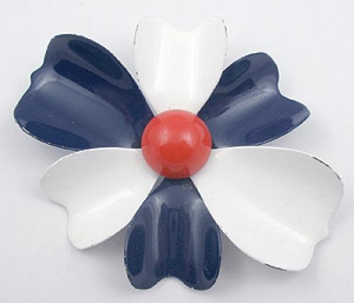 Patriotic Jewelry - Patriotic Enameled Flower Brooch