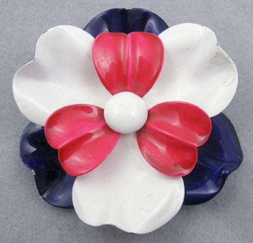 Newly Added Patriotic Enameled Flower Brooch