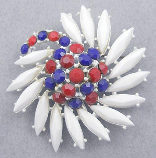 Patriotic Jewelry - Patriotic Rhinestone Flower Brooch