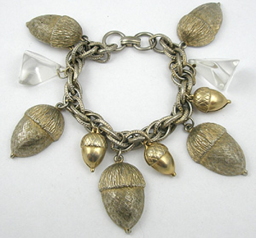 Newly Added Lucite and Acorns Charm Bracelet
