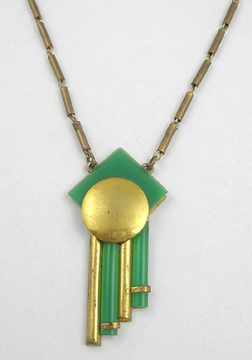 Necklaces - Jakob Bengel Green Galalith Brass Necklace