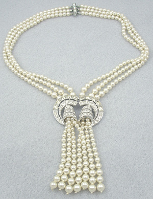 Necklaces - Vintage Faux Pearl Tassel Necklace