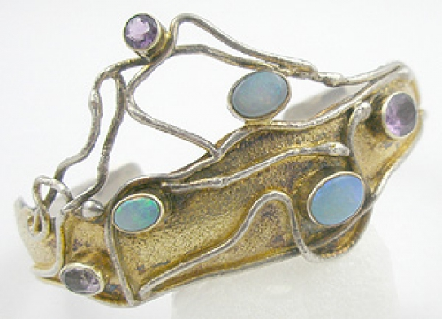 Newly Added Postmodern Opal and Amethyst Bracelet
