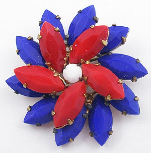 Patriotic Jewelry - Patriotic Navette Rhinestone Brooch
