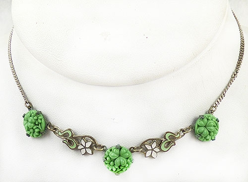Necklaces - German Molded Green Glass Necklace