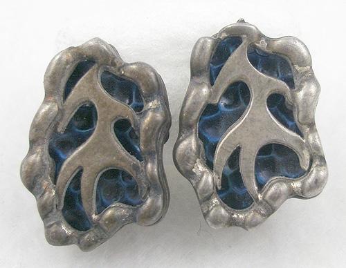 Earrings - Coro Modernist Enamel Earrings