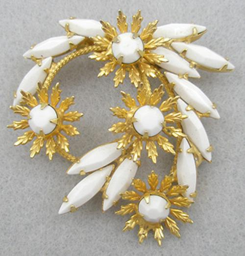 Brooches - White Navette Fireworks Brooch