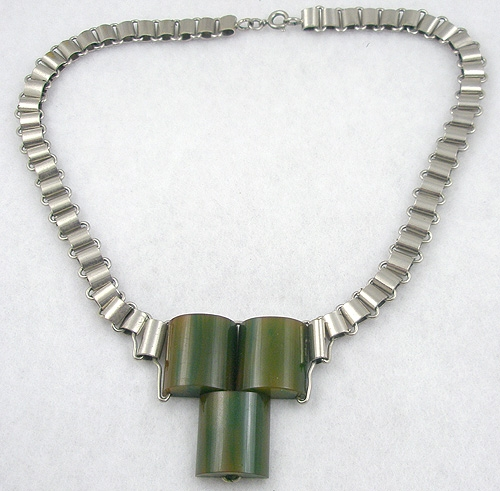 Art Deco - Jakob Bengel Green Galalith Necklace