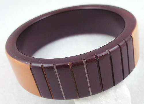 Bracelets - Over-Dyed Burgundy & Peach Plastic Bangle