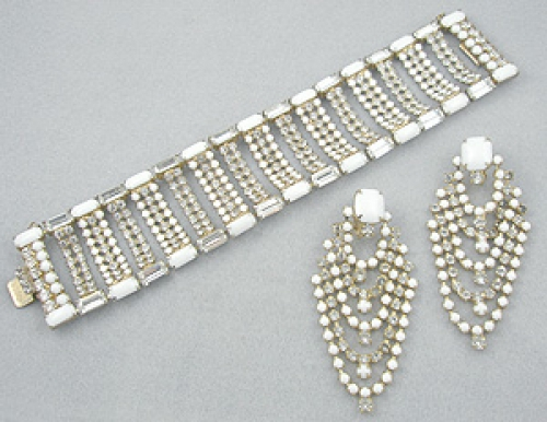 Bridal, Wedding, Special Occasion - Rhinestone & Milk Glass Bracelet Set