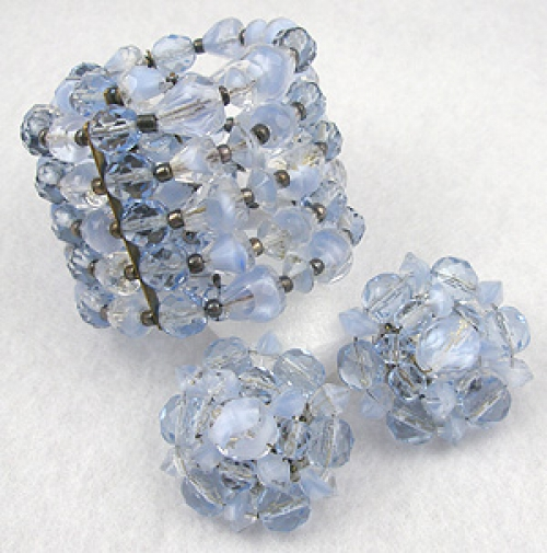 Rose Quartz and Serenity Blue Colored Jewelry - West German Blue Givre Bead Wrap Bracelet Set
