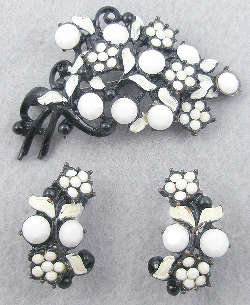 Sets & Parures - Japanned White Rhinestone Floral Set