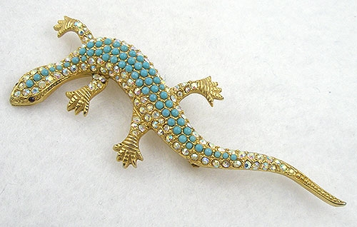Figural Jewelry - Snakes Turtles Reptiles - Brania Lizard Brooch
