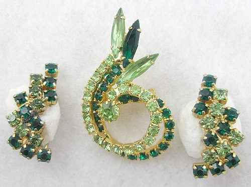 On Sale! 40% OFF sale Items - Green Rhinestone Brooch Set