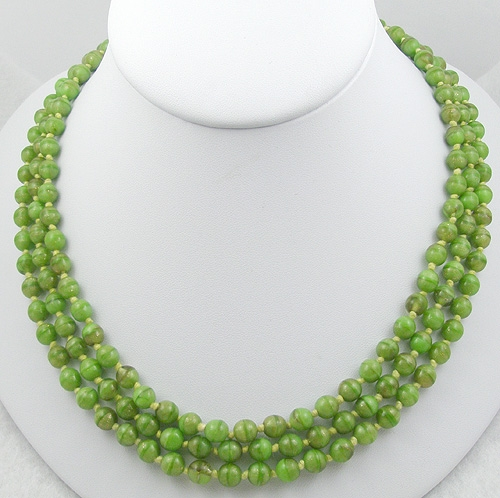 Austria - Vintage Austiran Green Glass Bead Necklace