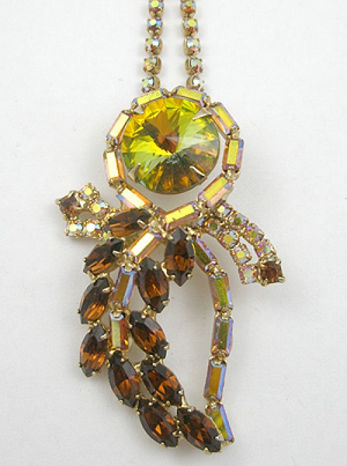 Necklaces - Topaz Rivoli Rhinestone Pendant Necklace