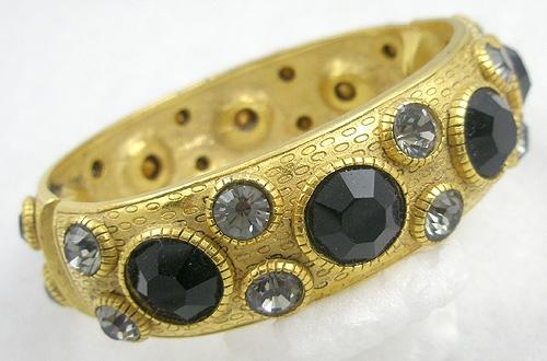 Bracelets - Black Rhinestone Gold Plated Hinged Bracelet