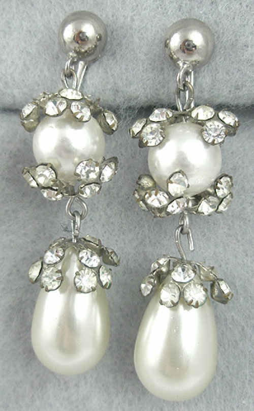 Bridal, Wedding, Special Occasion - Faux Pearl & Rhinestone Drop Earrings