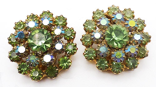 Newly Added Light Green Rhinestone Earrings