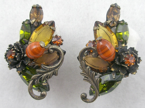 Autumn Fall Colors Jewelry - Topaz and Peridot Rhinestone Earrings