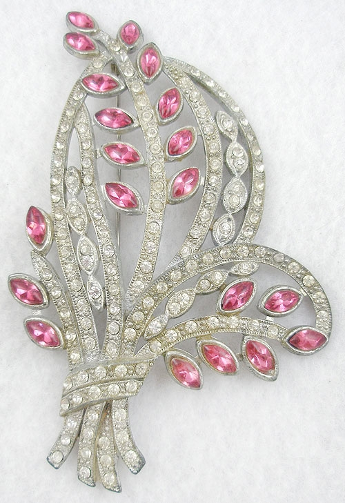 Newly Added Pot Metal Rhinestone Floral Brooch