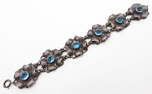 Sterling Silver - Hobé Sterling Aqua Rhinestone  Bracelet