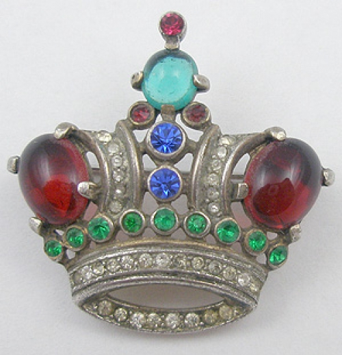 Crowns & Heraldic Jewelry - Trifari Sterling Crown Brooch