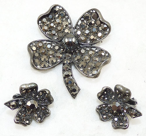 Leaves & Plants - Weiss Hematite Rhinestone Clover Brooch Set