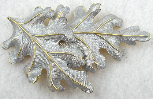 Brooches - Castlecliff Silver Enameled Leaves Brooch