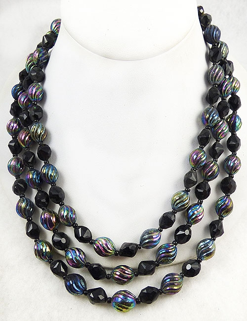 Newly Added West Germany Black Bead Triple Necklace