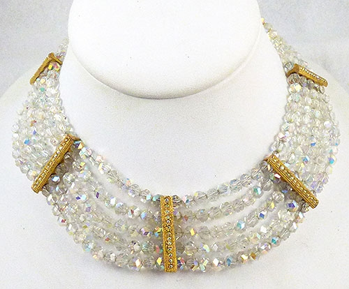 Crystal Bead Jewelry - Crystal Aurora 5-Strand Necklace