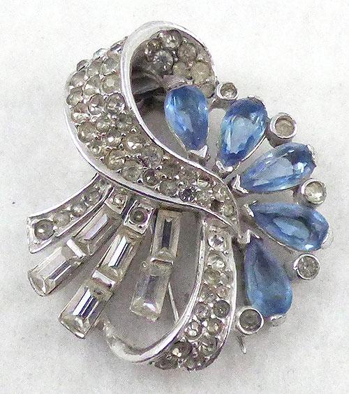 Boucher - Boucher Blue Teardrop Rhinestone Fur Clip