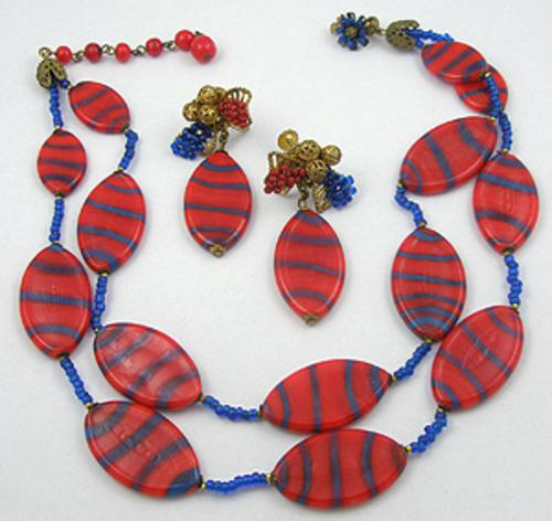 Sets & Parures - Miriam Haskell Red and Blue Glass Necklace Set
