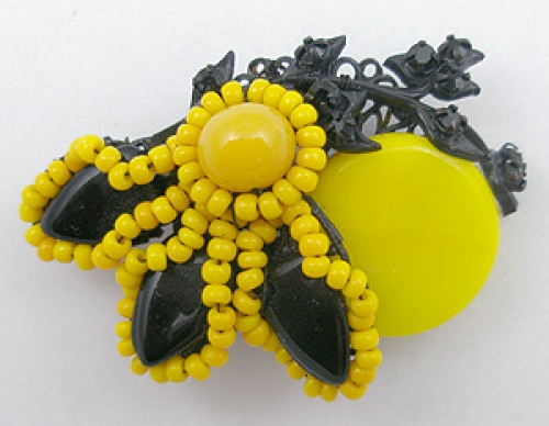 Newly Added Miriam Haskell Black & Yellow Brooch