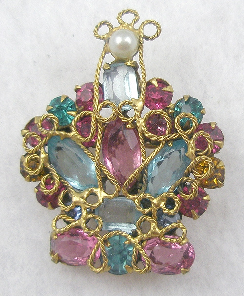 Crowns & Heraldic Jewelry - Robert Filigree Rhinestone Crown Brooch