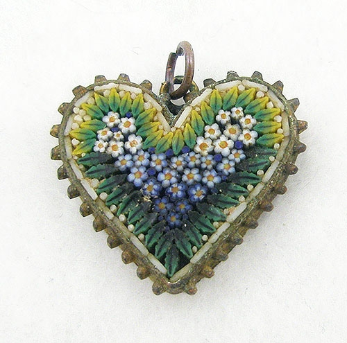 Newly Added Victorian Micro Mosaic Heart Pendant